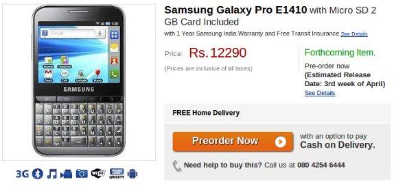 Samsung Galaxy Pro E1410 Flipkart