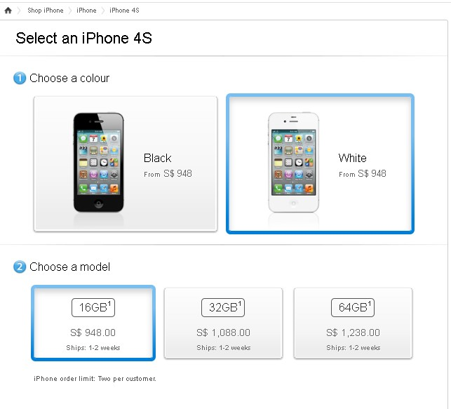 Apple IPhone 4S Singapore Prices Out