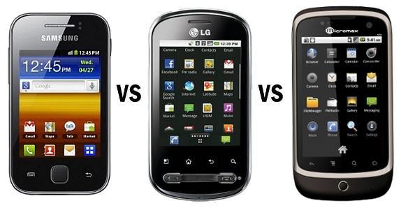 Samsung Galaxy Y vs LG Optimus Me vs Micromax A70