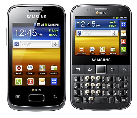 Samsung GALAXY Y DUOS and GALAXY Y Pro DUOS Dual SIM Android phones