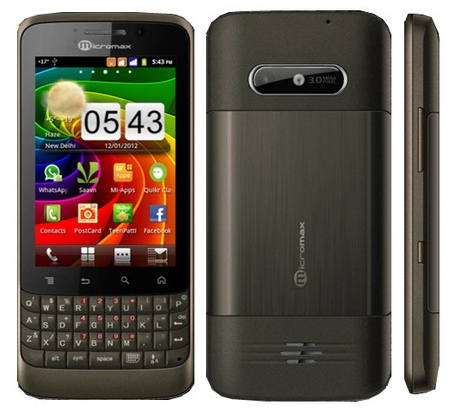 Micromax A78 Dual SIM Touch Screen QWERTY Android phone now available