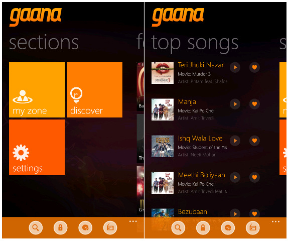 Gaana for Windows Phone