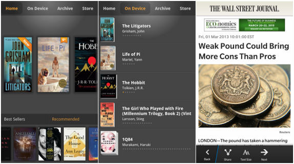 Kindle and The Wall Street Journal for BB10