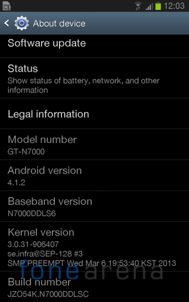 Samsung Galaxy Note Android 4.1.2 India