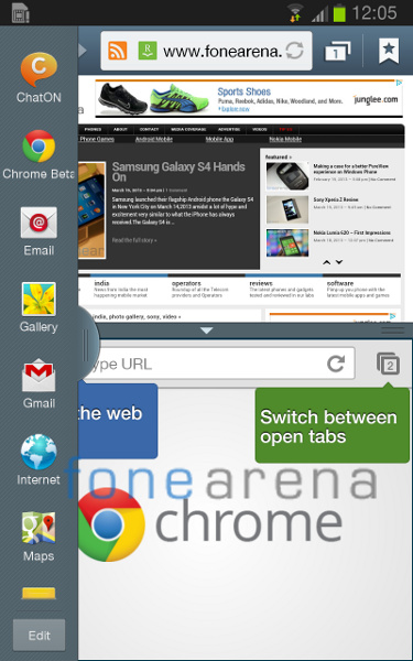 Samsung Galaxy Note Android 4.1.2 Multi Window