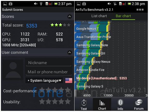 Sony Xperia E dual AnTuTu v3.2.1