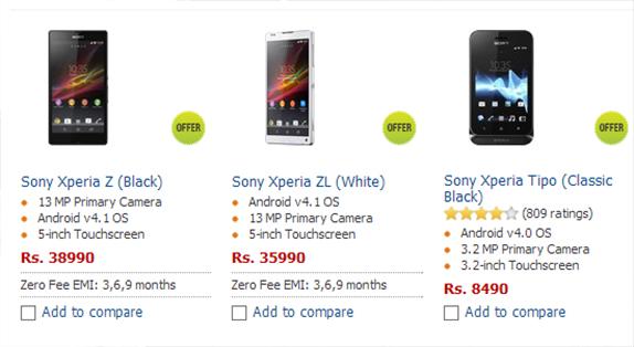 New Sony Ericsson Xperia Z Price In IndiaXperia Z Price
