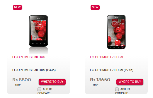 LG Optimus L3II Dual and L7II Dual price LG India