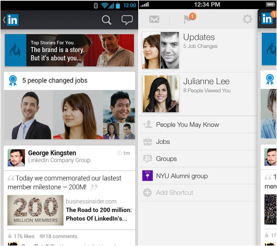 LinkedIn for Android and iPhone