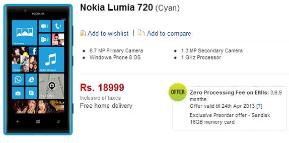 Nokia Lumia 720 Flipkart