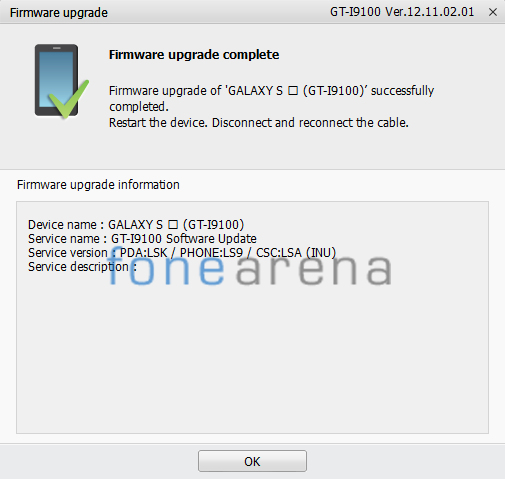 Samsung Galaxy S2 Android 4.1.2 India Kies