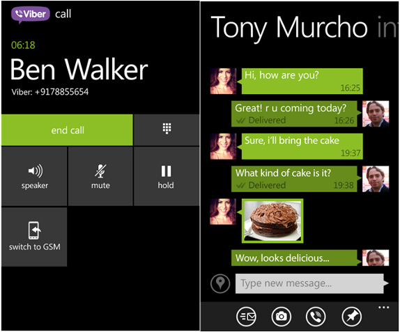 Viber for Windows Phone 8 voice calls