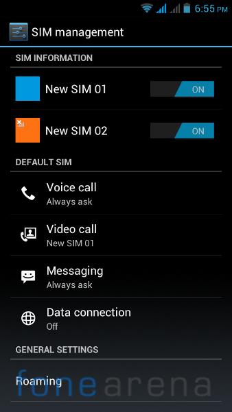 Xolo B700 SIM Management