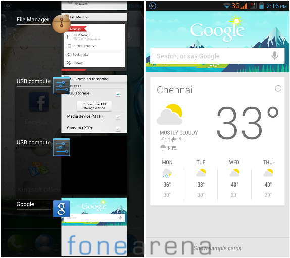 Lenovo P770 Multitasking and Google Now