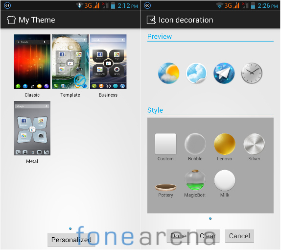 Lenovo P770 Themes and Icon decoration