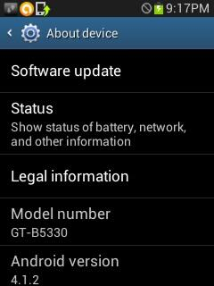 Samsung Galaxy Chat Android 4.1.2 India
