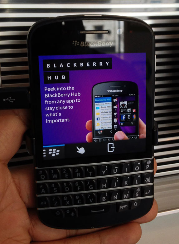 blackberry showed off the blackberry q10 alongside the first