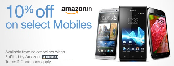 Amazon India now offers mobile phones, tablets and more, 10% off on select  mobile phones