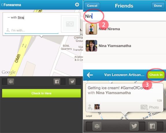 Foursquare for Android and iPhone Friends Checkin