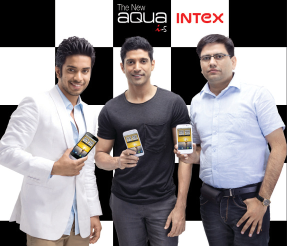 Intex Aqua I-5 launch, Keshav Bansal, Farhan Akhtar and Sanajy Kumar Kalirona