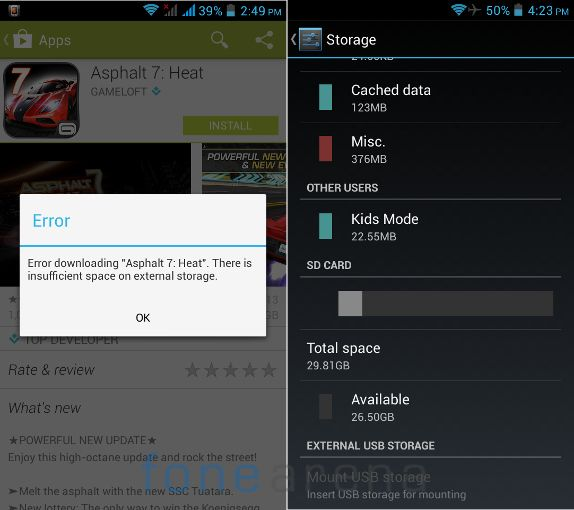 Xolo Q700 Memory Error and External Storage