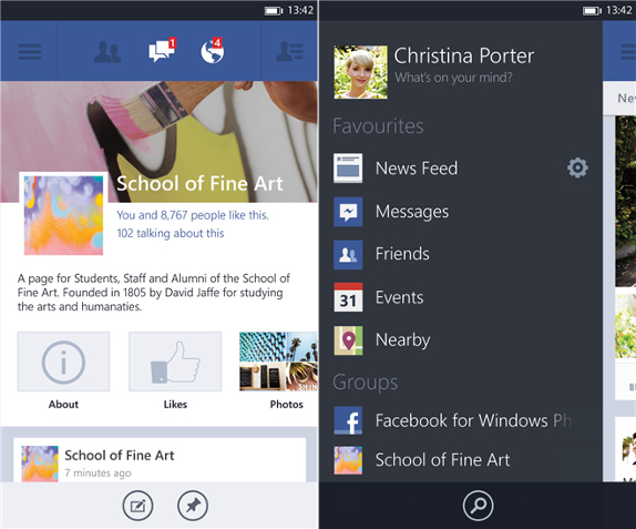 Facebook 5.0 for Windows Phone 8