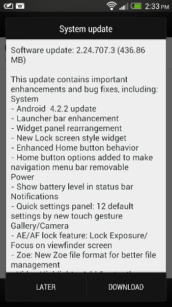 HTC One Android 4.2.2 India
