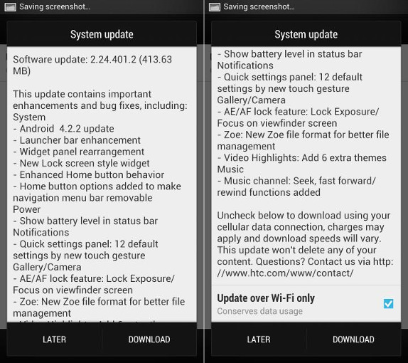 HTC One Android 4.2.2 update UK and France