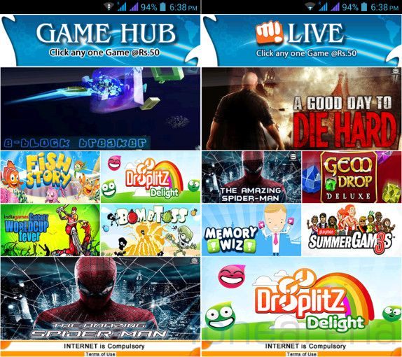 Micromax Canvas 4 GameHub and M! Live