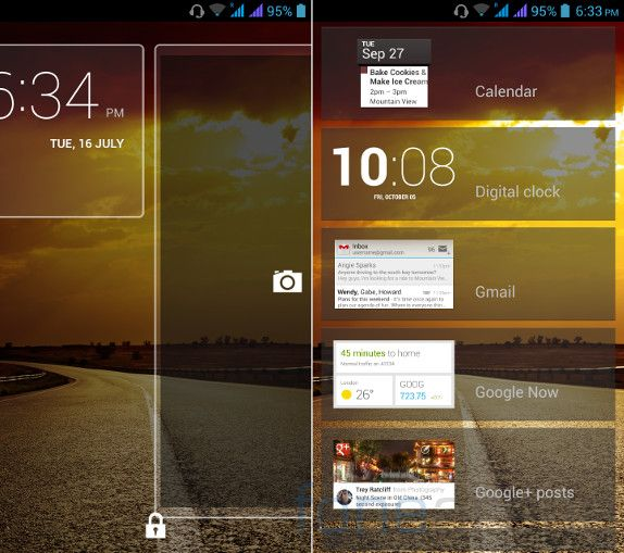 Micromax Canvas 4 Lock Screen widgets