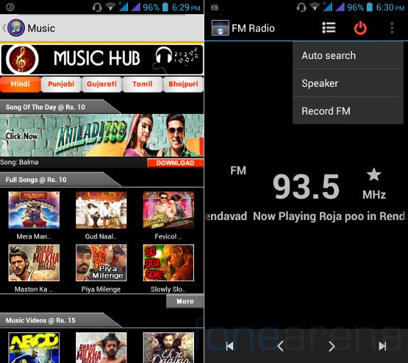 Micromax Canvas 4 Music and FM Radio