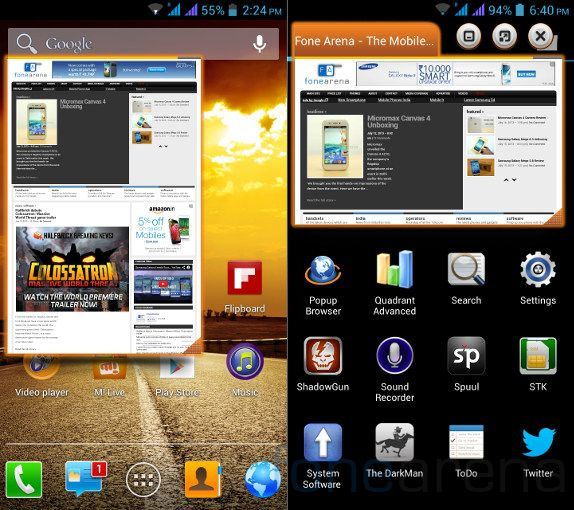 Micromax Canvas 4 Popup Browser