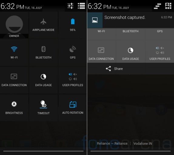 Micromax Canvas 4 Quick Settings and Notifications
