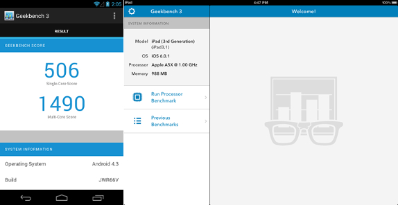 Geekbench 3 for Android and iPad