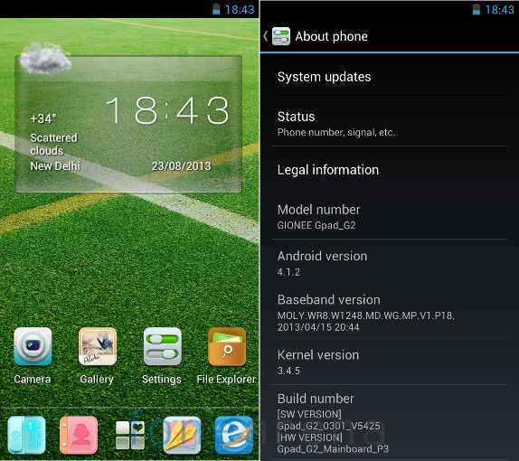 Gionee GPad G2 Homescreen and Android Version