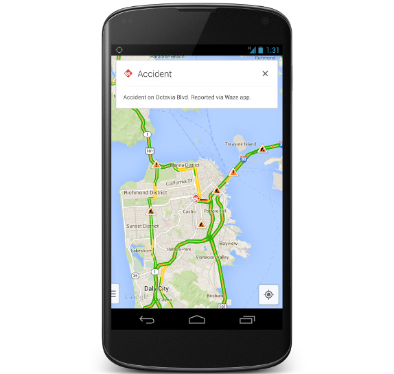 google maps for android iphone and ipad gets real time incident reports from waze. Black Bedroom Furniture Sets. Home Design Ideas