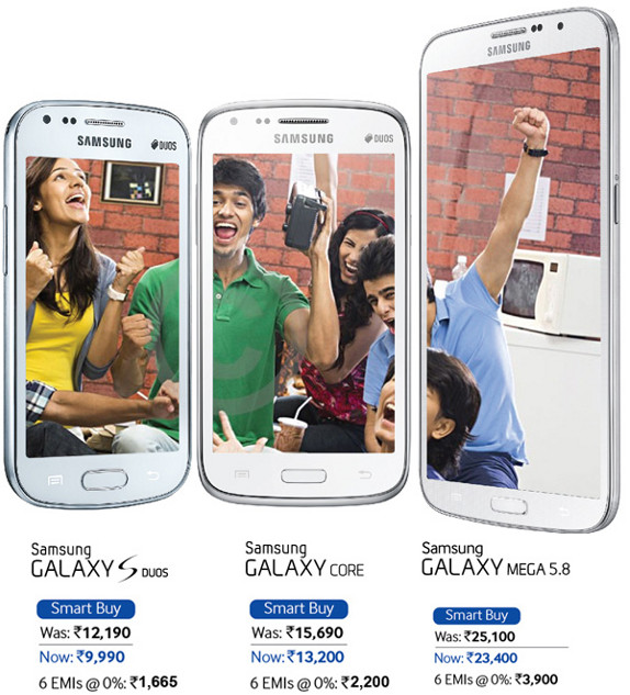 Samsung Galaxy S Duos, Core and Mega 6.3 Price cut