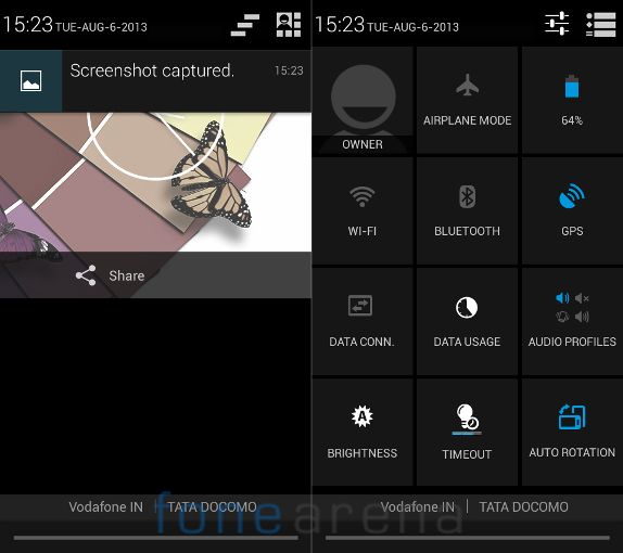 Xolo Q600 Rich notifications and Quick Settings