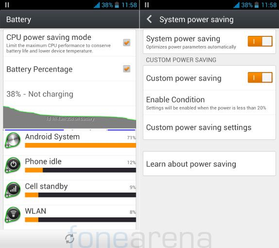 Gionee Elife E5 Battery and Power Saving