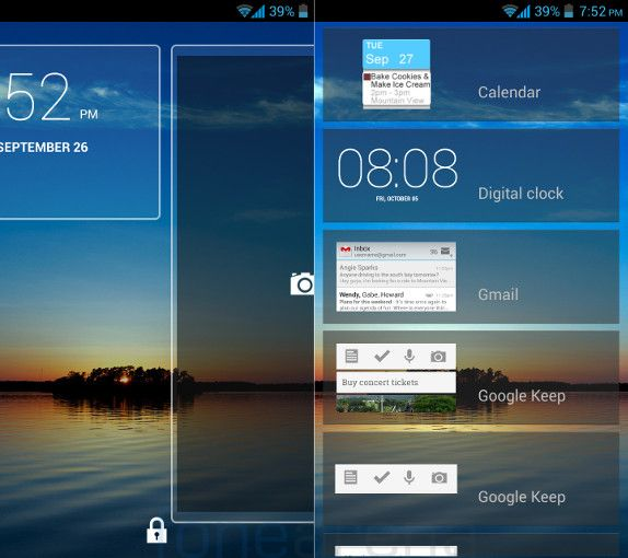 Gionee Elife E5 Lock Screen Widgets