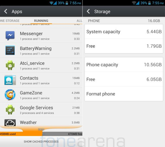 Gionee Elife E5 RAM and Internal Storage