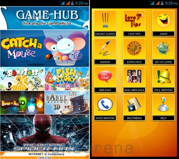 Micromax Canvas Doodle 2 Game Hub and M Live