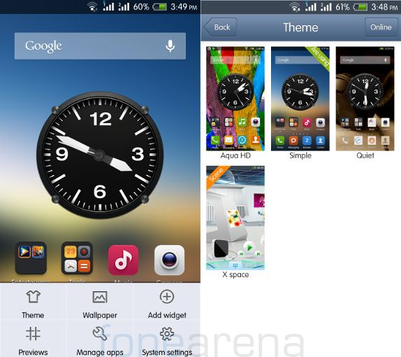 Intex Aqua HD Homescreen and Themes