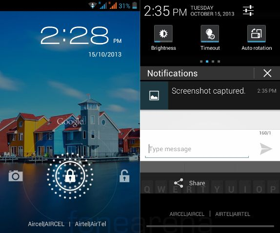 iBall Andi 4a Lockscreen and Notifications
