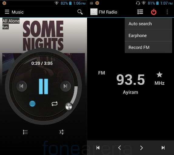 Micromax Canvas Turbo Music Player and FM Radio