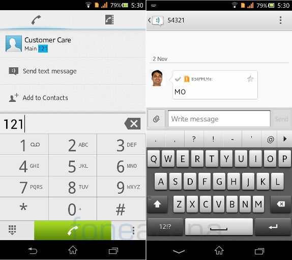 Sony Xperia C Calls and Messaging