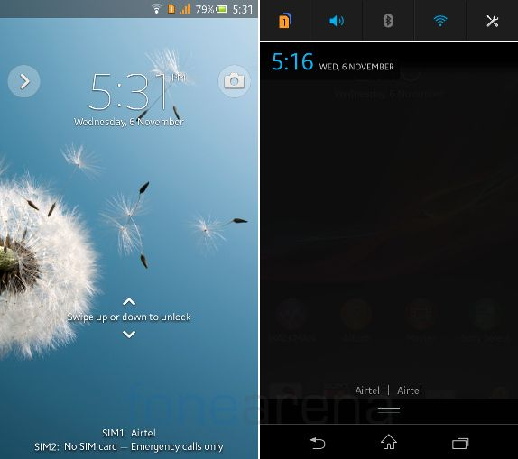 Sony Xperia C Lockscreen and Notifications
