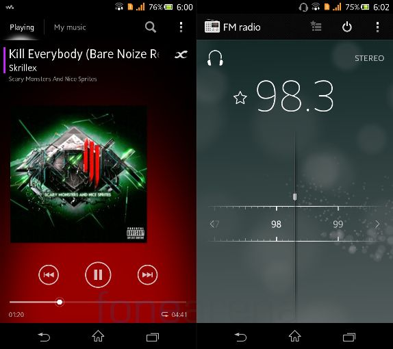 Sony Xperia C Music Player and FM
