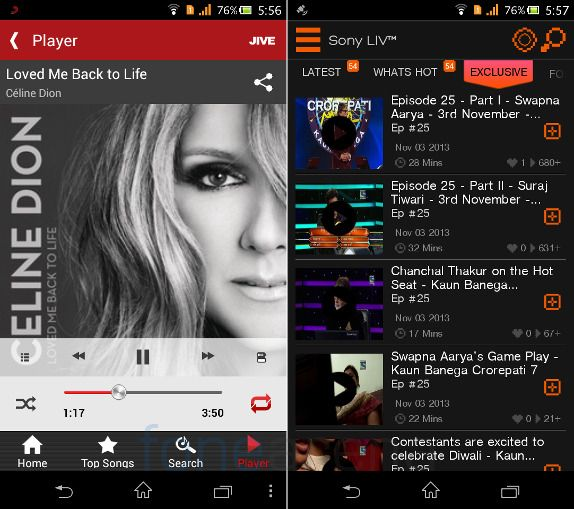 Sony Xperia C Sony Music Jive and LIV