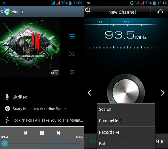 Xolo Q900 Music Player and FM Radio